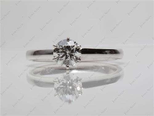 White Gold 0.51 Round cut Diamond Ring