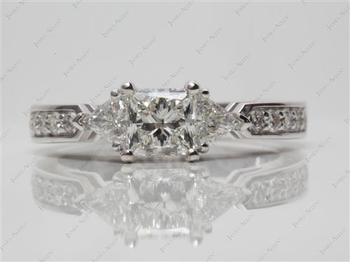 White Gold 0.75 Princess cut Three Stones Settings