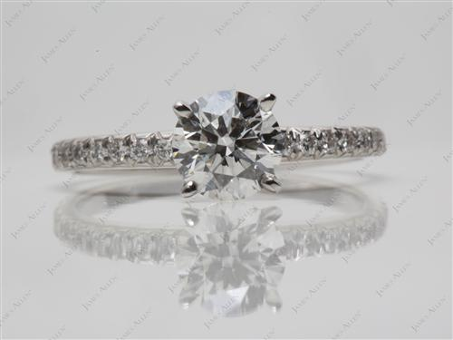 Platinum 0.90 Round cut Pave Engagement Rings