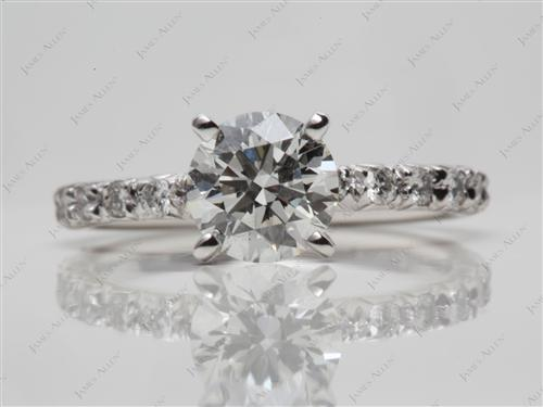 Platinum 1.01 Round cut Pave Ring Mountings