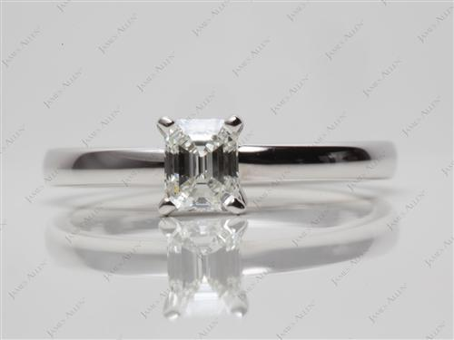 White Gold 0.44 Emerald cut Solitaire Engagement Ring