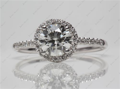 White Gold 1.24 Round cut Engagement Rings Pave