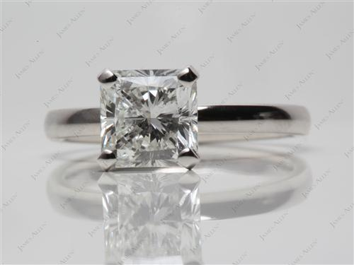 Platinum 1.62 Radiant cut Solitaire Diamond Rings