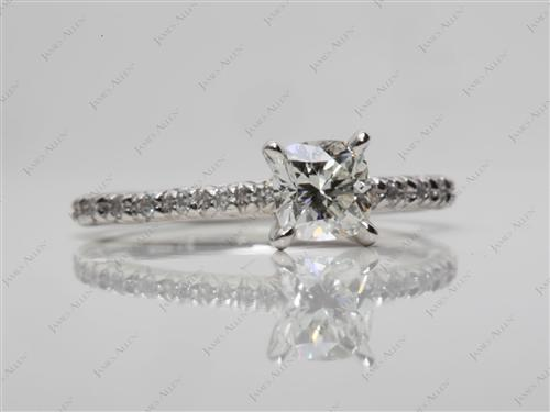Platinum 0.56 Cushion cut Engagement Ring Micro Pave