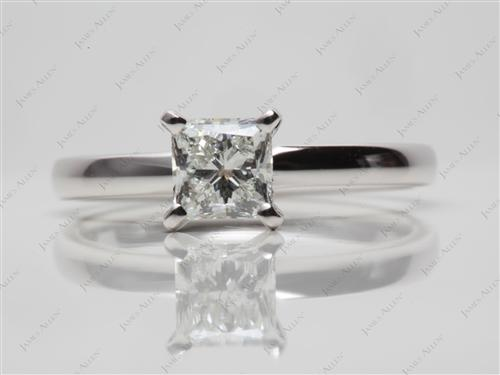 White Gold 0.75 Princess cut Solitaire Diamond Ring