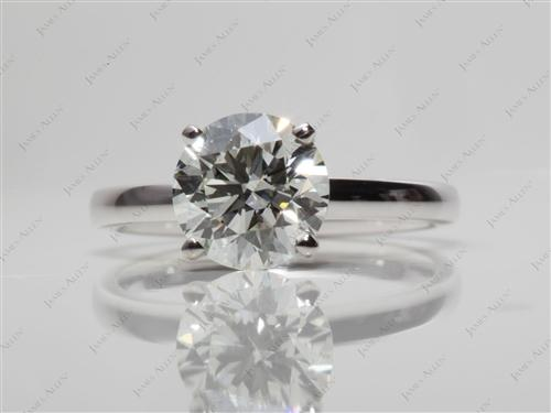 White Gold 1.71 Round cut Solitaire Diamond Rings