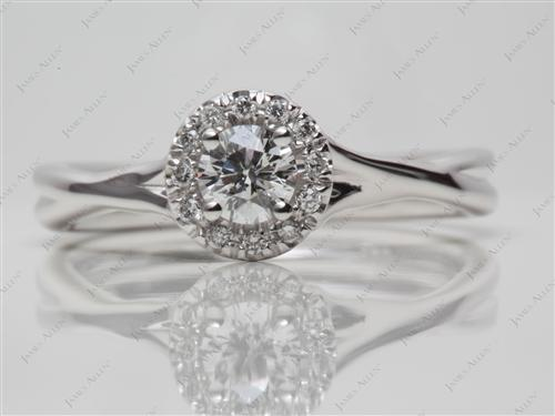 White Gold 0.30 Round cut Pave Engagement Ring