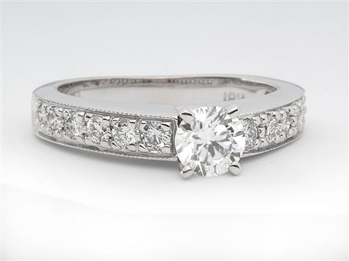 White Gold 0.50 Round cut Pave Engagement Rings