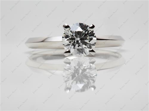 Platinum 0.96 Round cut Diamond Engagement Solitaire Rings