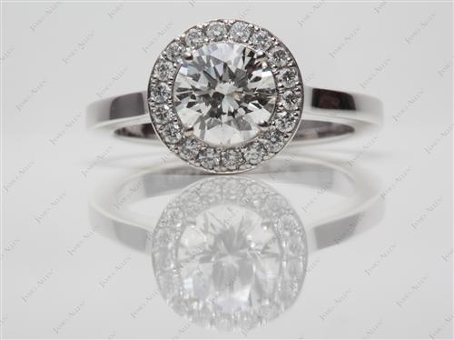 White Gold 1.01 Round cut Diamond Pave Ring