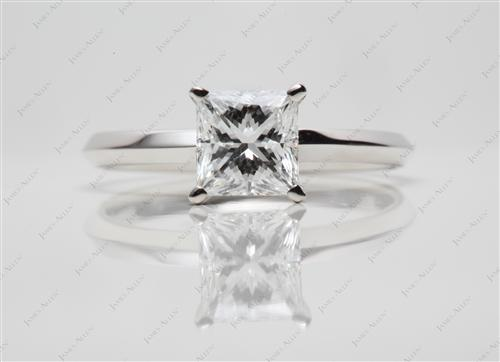 White Gold 1.15 Princess cut Solitaire Diamond Ring
