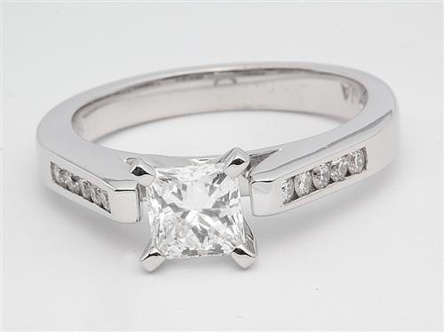 White Gold 0.66 Princess cut Side Stone Engagement Rings