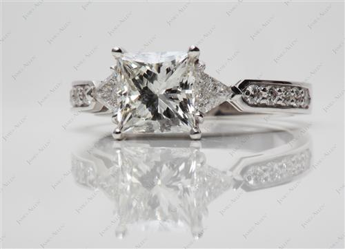 White Gold 1.56 Princess cut Three Stones Ring