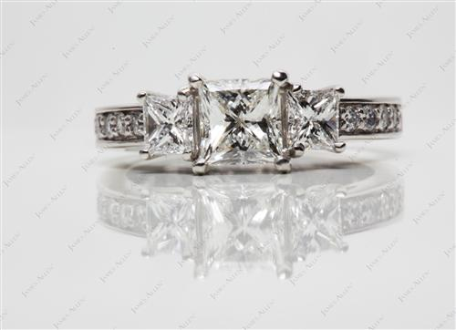 Platinum 0.81 Princess cut Three Stones Settings
