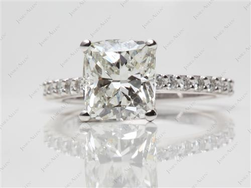 Platinum 2.31 Cushion cut Engagement Ring With Sidestones