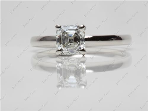 Platinum 1.05 Asscher cut Diamond Rings
