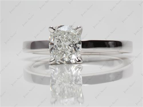 White Gold 1.51 Cushion cut Solitaire Ring Mountings