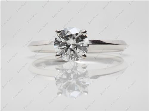 White Gold 0.94 Round cut Diamond Solitaire Engagement Ring