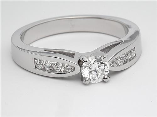 White Gold 0.30 Round cut Side Stone Engagement Rings