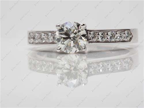 White Gold 1.00 Round cut Engagement Rings Pave