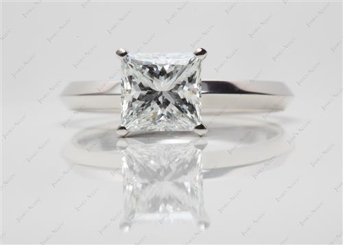 Platinum 1.63 Princess cut Solitaire Ring Setting