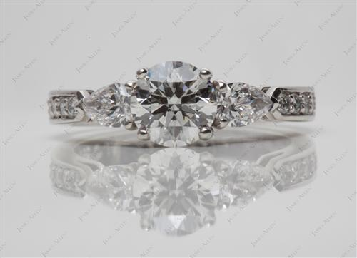 Platinum 1.14 Round cut Three Stones Diamond Rings