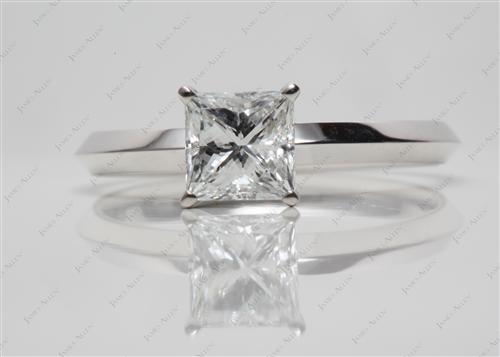 White Gold 1.31 Princess cut Solitaire Rings