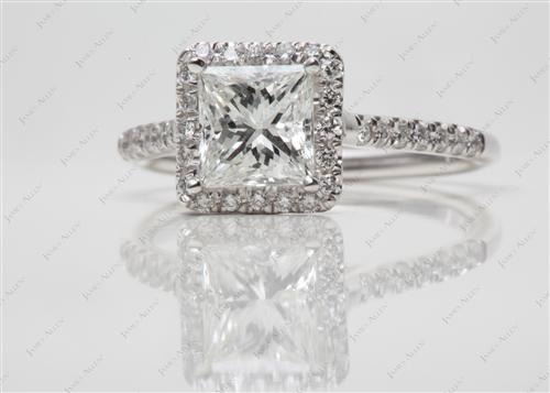 White Gold 1.18 Princess cut Micro Pave Ring