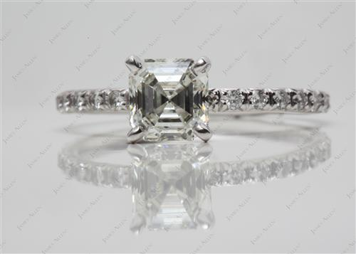 Platinum 1.40 Asscher cut Diamond Pave Ring