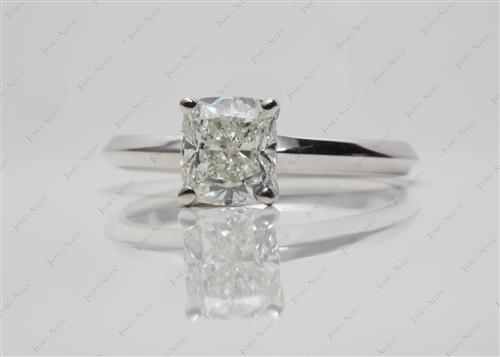 White Gold 1.06 Cushion cut Solitaire Engagement Rings