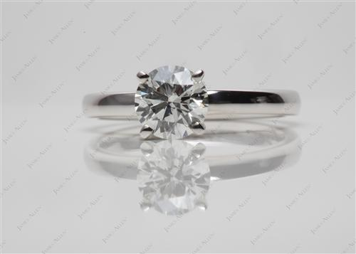 White Gold 0.72 Round cut Solitaire Engagement Rings