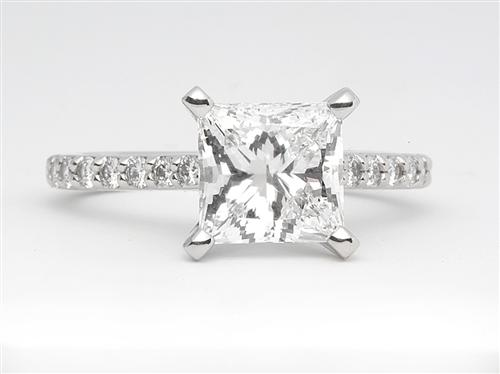 Platinum 2.01 Princess cut Side Stone Engagement Rings