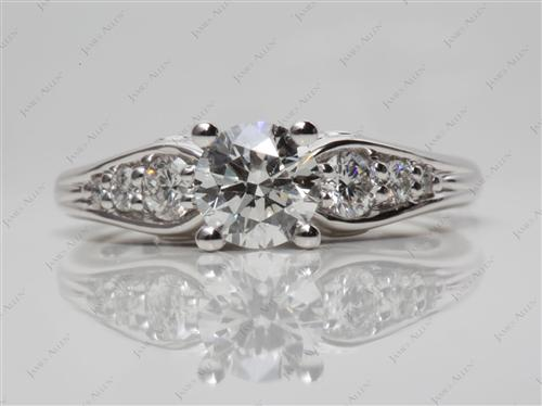 White Gold 0.70 Round cut Engagement Rings With Side Stones