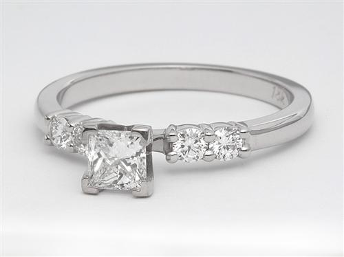 White Gold 0.35 Princess cut Engagement Ring With Sidestones
