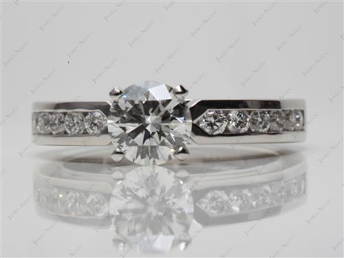 Platinum 1.03 Round cut Channel Set Engagement Rings