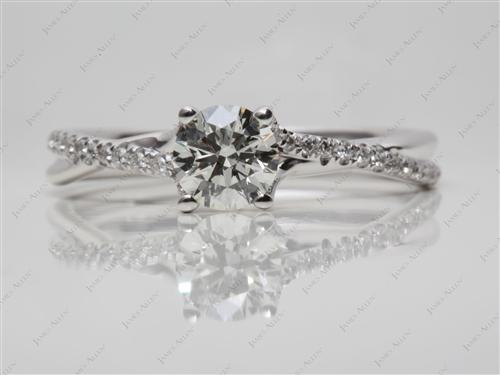 White Gold 0.73 Round cut Pave Ring Set