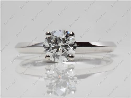 White Gold 0.81 Round cut Engagement Rings