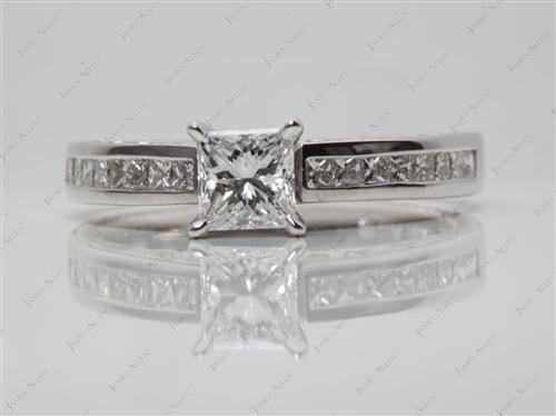 White Gold 0.70 Princess cut Channel Diamond Ring