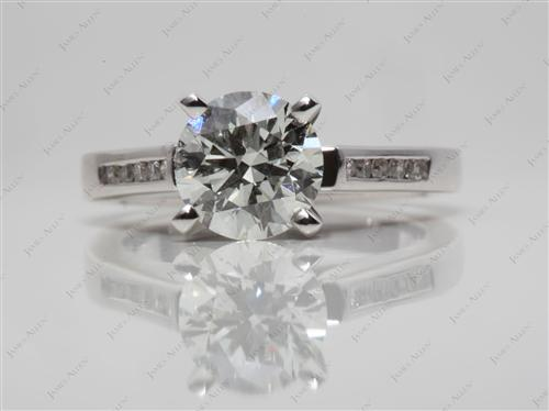White Gold 1.35 Round cut Channel Set Diamond Ring