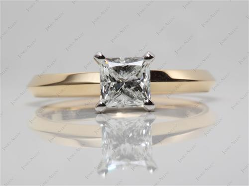 Gold 1.00 Princess cut Diamond Rings