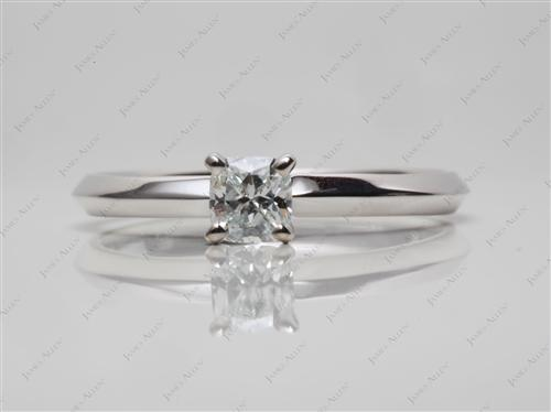 White Gold 0.28 Cushion cut Solitaire Engagement Rings
