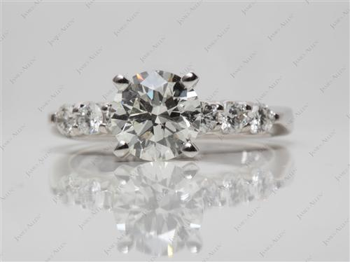 Platinum 1.51 Round cut Engagement Ring Settings With Side Stones