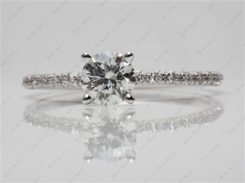 White Gold 0.74 Round cut Diamond Pave Rings