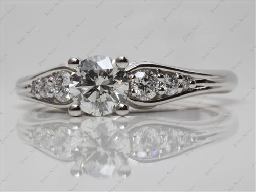 Platinum 0.80 Round cut Engagement Rings Side Stones