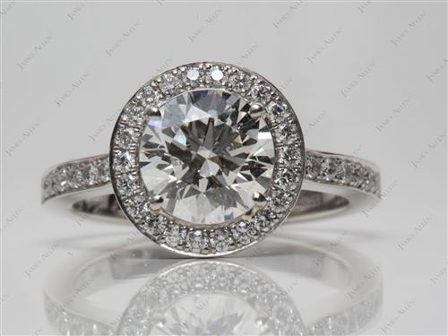 Platinum 1.80 Round cut Engagement Rings Pave