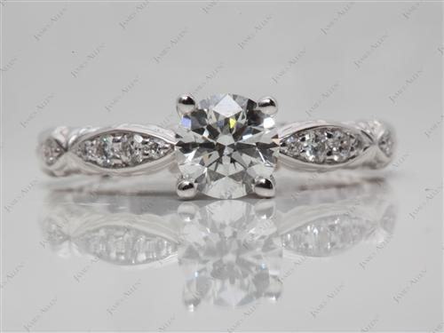 White Gold 0.82 Round cut Pave Engagement Ring