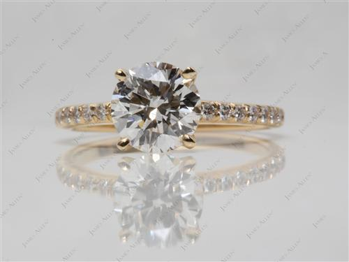 Gold 1.51 Round cut Pave Ring Mountings
