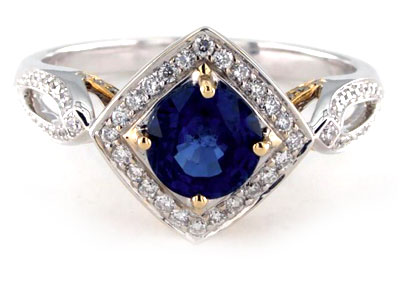 Mille Coeurs Blue Sapphire Designer Ring
