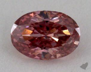 oval0.28 Carat fancy intense orange pink