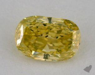 cushion0.73 Carat fancy intense greenish yellow